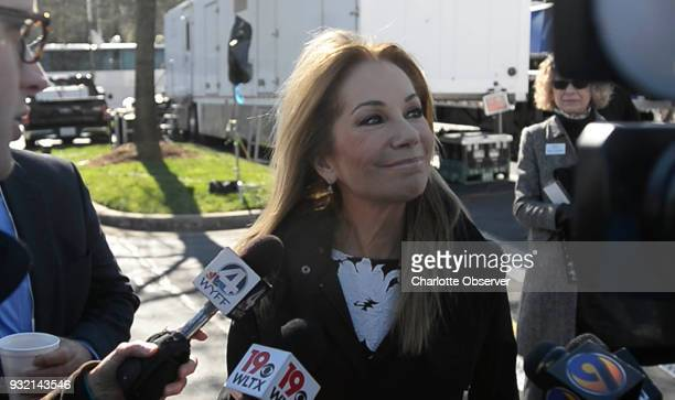 Entertainer Kathie Lee Gifford talks to the media prior to the start of funeral services for Rev Billy Graham at the Billy Graham Library in...