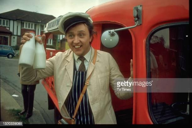 Entertainer Ken Dodd dressed as a milkman, circa 1969.