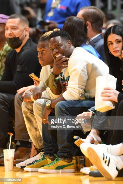 Entertainer, Kevin Hart attends a game between the Los Angeles Lakers and the Golden State Warriors on October 19, 2021 at STAPLES Center in Los...