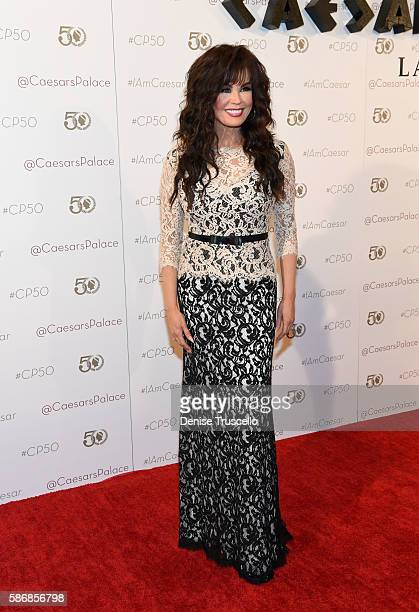 Entertainer Marie Osmond arrives at Caesars Palace during the resort's 50th anniversary gala on August 6 2016 in Las Vegas Nevada