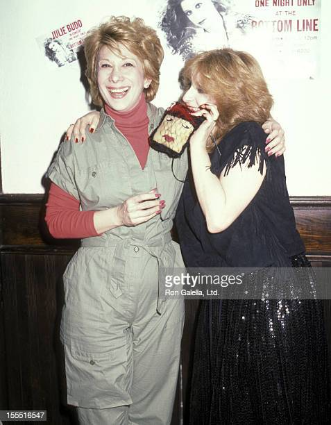 Entertainer Marilyn Michaels and singer Julie Budd attend Julie Budd in Concert One Night Only on April 14 1984 at The Bottom Line in New York City