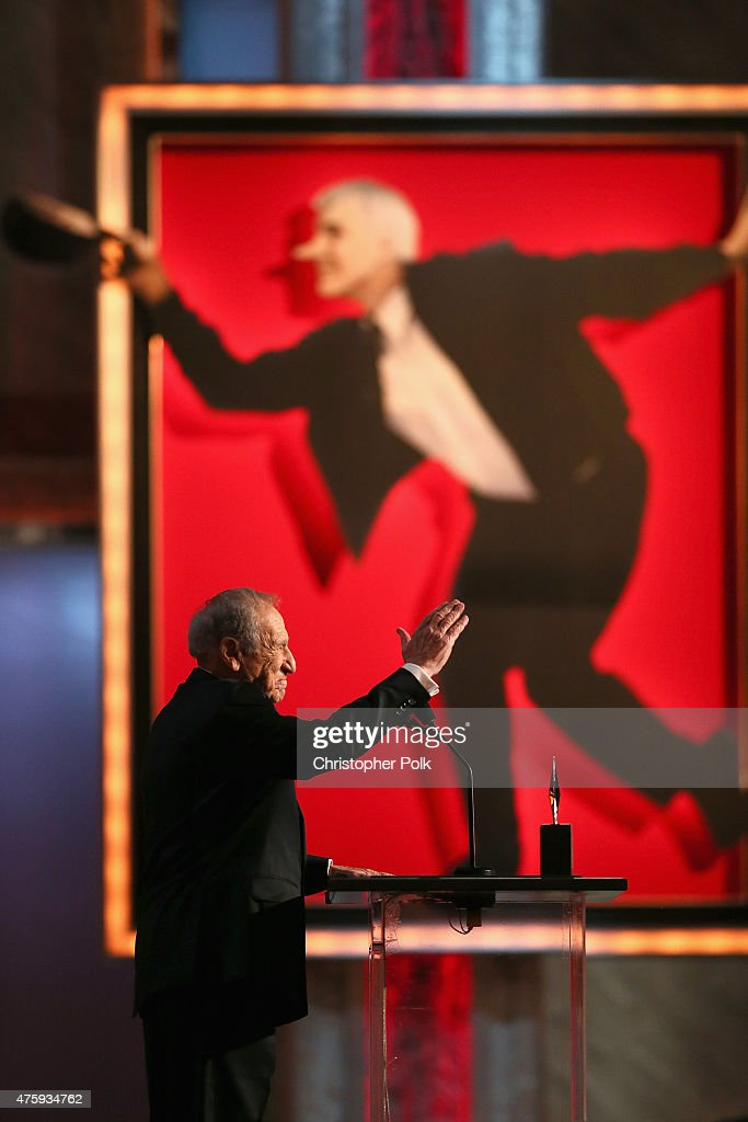 Entertainer Mel Brooks speaks onstage during the 2015 AFI Life Achievement Award Gala Tribute Honoring Steve Martin at the Dolby Theatre on June 4, 2015 in Hollywood, California. 25292_007