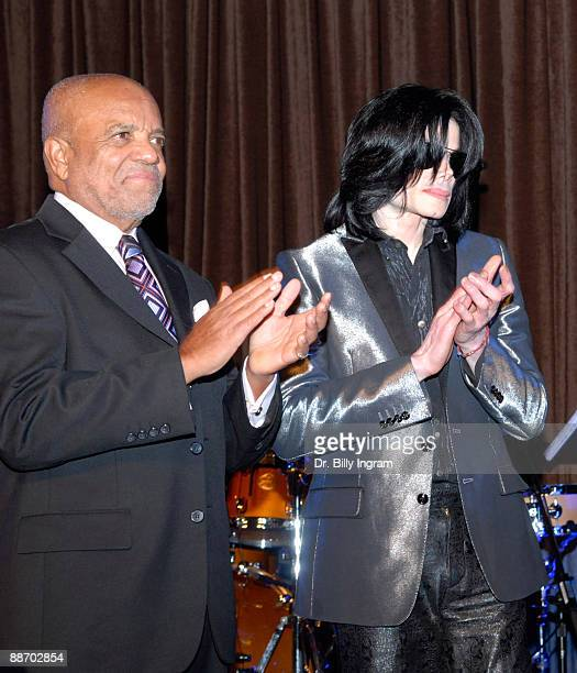 Entertainer Michael Jackson and Motown Records founder Barry Gordy attend Jesse Jackson's 65th birthday at the Beverly Hilton Hotel on November 8...