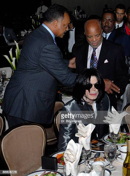 Entertainer Michael Jackson and Motown Records founder Barry Gordy and Jesse Jackson attend Jesse Jackson's 65th birthday at the Beverly Hilton Hotel...