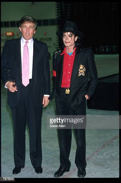 Entertainer Michael Jackson and real estate mogul Donald Trump attend the opening of the Taj Mahal hotel and casino April 5 1990 in Atlantic City NJ...