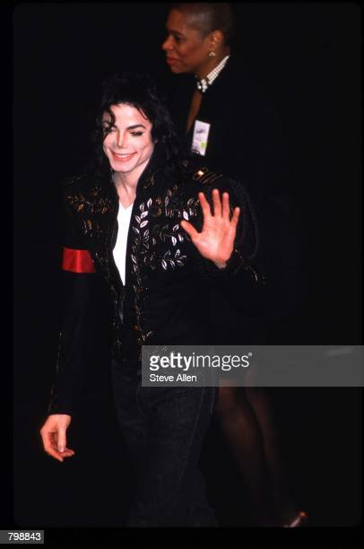 Entertainer Michael Jackson waves at the Caring For Kids ceremony April 28 1994 in New York City Jackson who was the lead singer for the Jackson Five...
