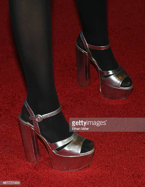 Entertainer Miley Cyrus shoes detail makes an appearance at Omnia Nightclub at Caesars Palace on March 22 2015 in Las Vegas Nevada