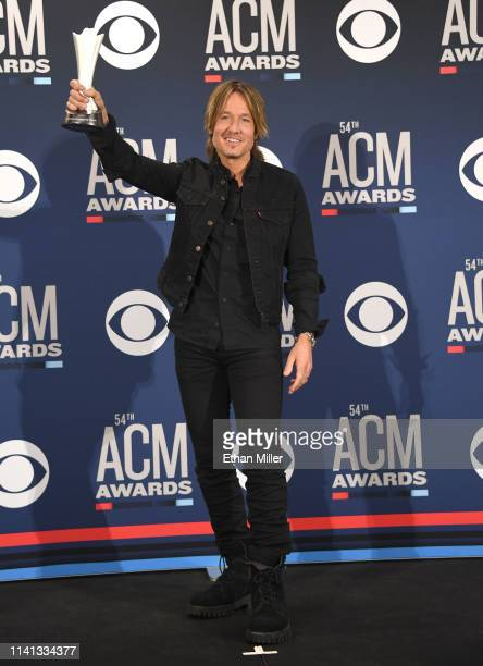 Entertainer of the Year award winner Keith Urban poses in the press room during the 54th Academy Of Country Music Awards at MGM Grand Garden Arena on...