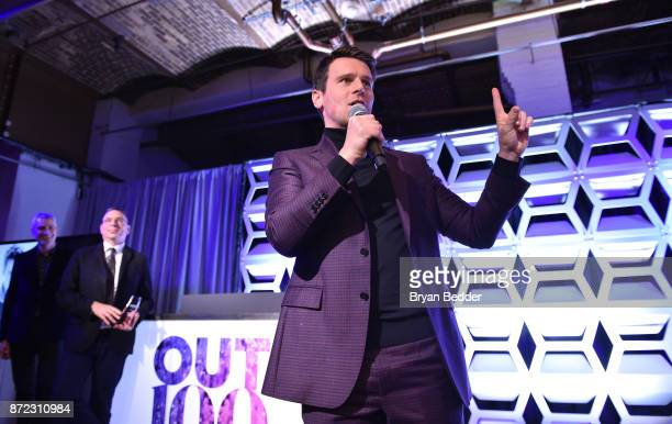 Entertainer of the Year Jonathan Groff speaks on stage during OUT Magazine #OUT100 Event presented by Lexus at the the Altman Building on November 9...