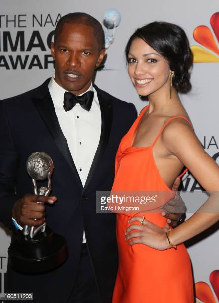 Entertainer of the Year recipient actor Jamie Foxx and daughter Corinne Bishop pose in the press room at the 44th NAACP Image Awards at the Shrine...