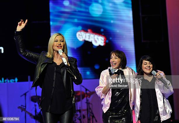 Entertainer Olivia NewtonJohn actress Didi Conn reunite on stage to perform 'Summer Nights' with back up singer Marlen Landin at Flamingo Las Vegas...