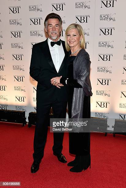 Entertainer Olivia NewtonJohn and her husband John Easterling attend Nevada Ballet Theatre's 32nd annual Black White Ball honoring her at Wynn Las...