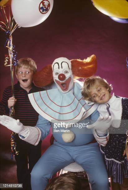 Entertainer Pat Hurley from ABCTV's Kids Are People Too as Bozo the Clown with children 1983