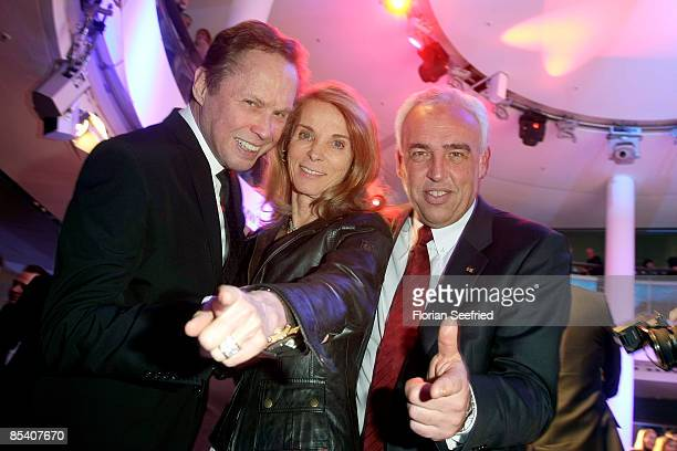Entertainer Peter Kraus and his wife Ingrid Kraus and HansReiner Schroeder of BMW Berlin attend the BMW presentation of the new Z4 Roadster at a BMW...