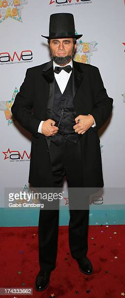 Entertainer Peter Pavone dressed as Abraham Lincoln arrives at the 'Showbiz Roast of Oscar Goodman' at the Stratosphere Casino Hotel on July 23 2013...