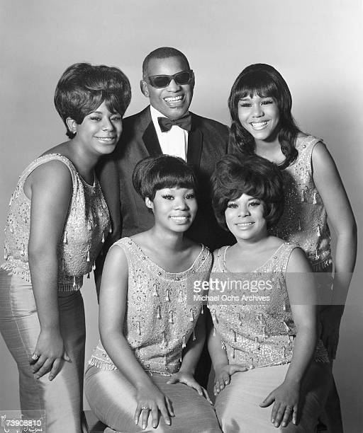 """Entertainer Ray Charles poses for a portrait with his backup vocal group """"The Raelettes"""". Clockwise, from top centre: Ray Charles, Clydie King, Gwen..."""