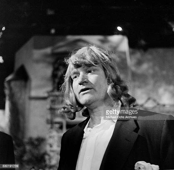 Entertainer Red Skelton performs during a sketch as one of the Andrew Sisters for his television show ' The Red Skelton Show' from 19511971 in Los...