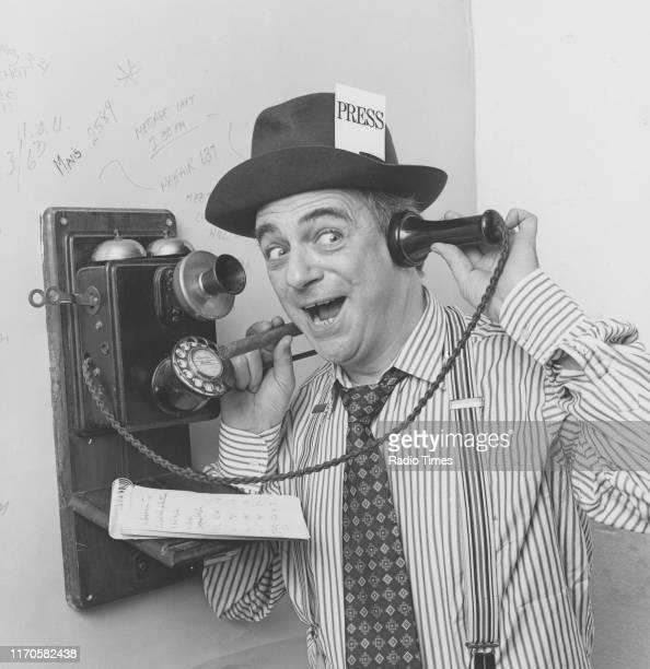 Entertainer Roy Hudd joking around for the BBC Radio 2 sketch show 'The News Huddlines' September 1982
