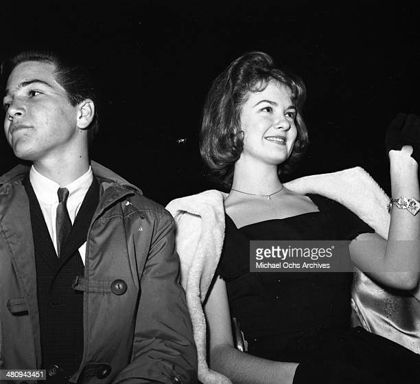 Entertainer Shelley Fabares attends an event with fellow Donna Reed Show star Paul Petersen in circa 1961