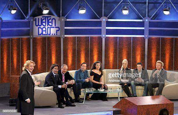 Entertainer Thomas Gottschalk and his guests on the couch KarlHeinz Grasser Fiona Swarovski Friedrich von Thun Jan Josef Liefers Cecilia Bartoli Cora...