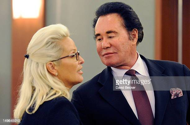 Entertainer Wayne Newton and his wife Kathleen McCrone Newton appear during a court recess at the Clark County Regional Justice Center on August 1...