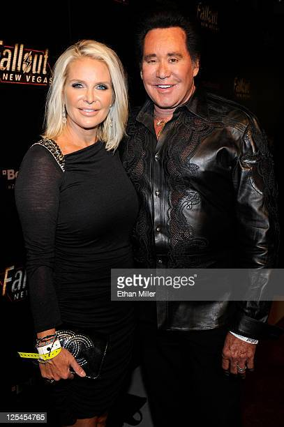 Entertainer Wayne Newton and wife Kathleen McCrone arrive at the Fallout New Vegas launch event featuring Vampire Weekend at Rain Nightclub inside...