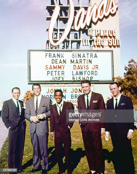 Entertainers and members of the Rat Pack Frank Sinatra Dean Martin Sammy Davis Jr Peter Lawford and Joey Bishop pose for a portrait outside The Sands...