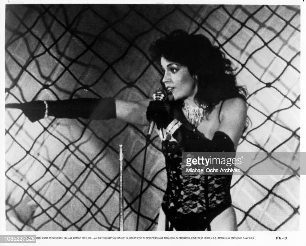 Entertainers Apollonia Kotero of the female singing trio Apollonia 6 in a scene from the movie Purple Rain which was released in 1984
