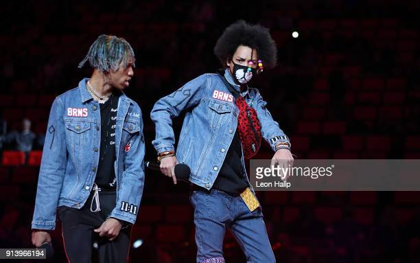 Entertainers Ayo and Teo perform during the halftime show at Little Caesars Arena on February 3 2018 in Detroit Michigan Detroit defeated Miami...