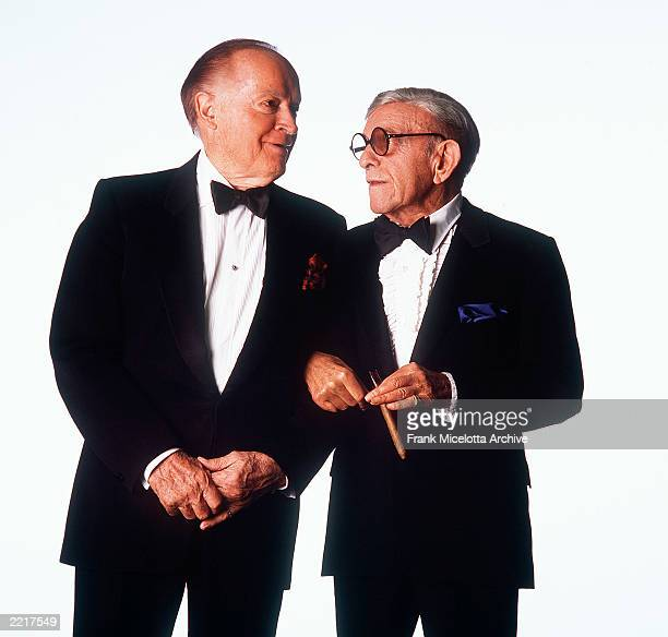 Entertainers Bob Hope and George Burns pose at Madison Square Garden October 1, 1989 in New York City. Hope, who appeared in over 60 films and many...