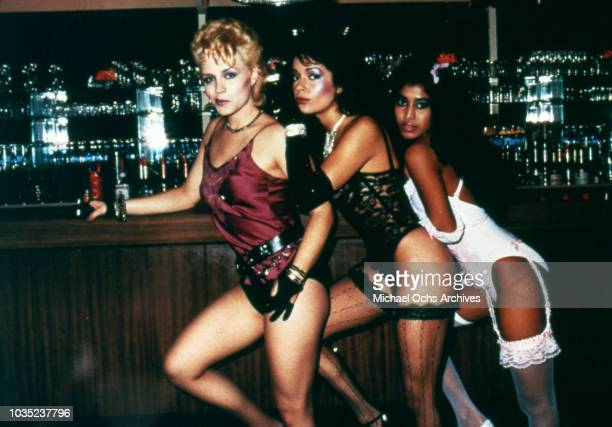 Entertainers Brenda Bennett Apollonia Kotero and Susan Moonsie of the female singing trio Apollonia 6 in a scene from the movie Purple Rain which was...