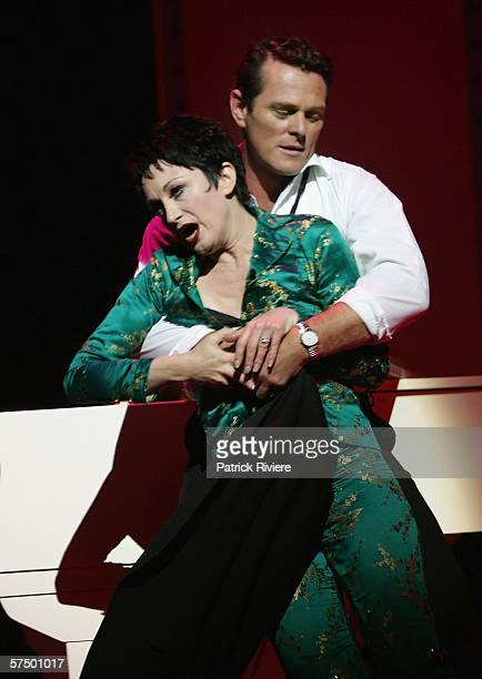 Entertainers Caroline O'Connor and Michael Cormick perform during a media call for the stage production of End Of The Rainbow at the Theatre Royal on...