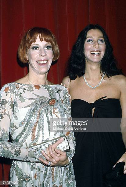 Entertainers Cher and Carol Burnett attends an event in circa 1975 in Los Angeles California