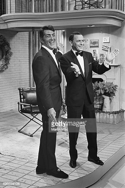 Entertainers Dean Martin and Frank Sinatra on the set of 'The Dean Martin Show' in 1967 in Los Angeles California