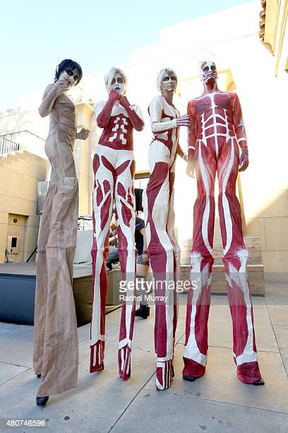 Entertainers in costume at the 'ATTACK ON TITAN' World Premiere on July 14 2015 in Hollywood California
