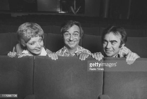 Entertainers Janet Brown Roy Hudd and Chris Emmett for the BBC Radio 2 sketch show 'The News Huddlines' June 1977