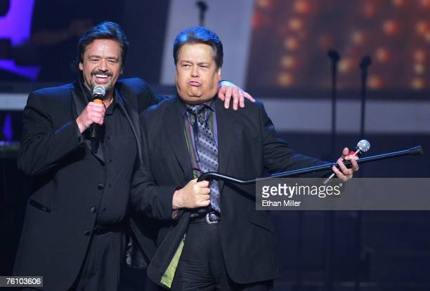 Entertainers Jay Osmond and Alan Osmond joke around as they perform at the Orleans Hotel Casino August 14 2007 in Las Vegas Nevada The members of the...