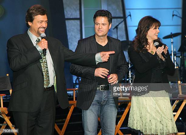 Entertainers Jay Osmond Donny Osmond and Marie Osmond speak during a meet and greet with fans at the Orleans Hotel Casino August 13 2007 in Las Vegas...