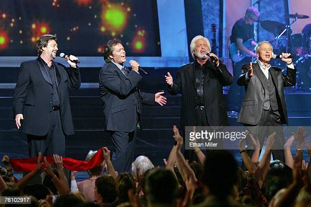 Entertainers Jay Osmond Jimmy Osmond Merrill Osmond and Wayne Osmond perform at the Orleans Hotel Casino August 14 2007 in Las Vegas Nevada The...