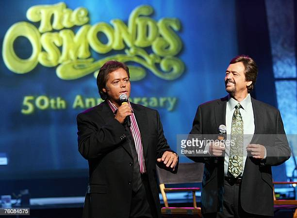 Entertainers Jimmy Osmond and his brother Jay Osmond speak during a meet and greet with fans at the Orleans Hotel Casino August 13 2007 in Las Vegas...