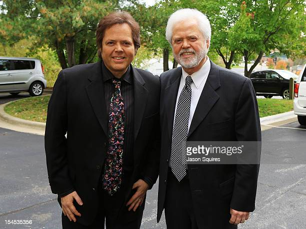 Entertainers Jimmy Osmond and Merril Osmond attend a memorial service for entertainer Andy Williams on October 21 2012 in Branson Missouri Williams...