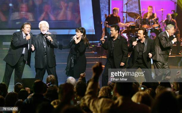 Entertainers Jimmy Osmond Merrill Osmond Marie Osmond Donny Osmond Jay Osmond and Wayne Osmond perform at the Orleans Hotel Casino August 14 2007 in...