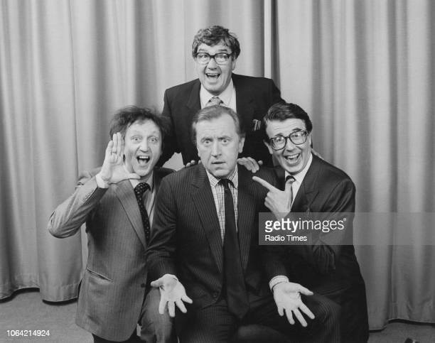 Entertainers Ken Dodd , Frank Carson and Leslie Crowther pictured with host David Frost, photographed in connection with the BBC Radio 2 show 'Pull...