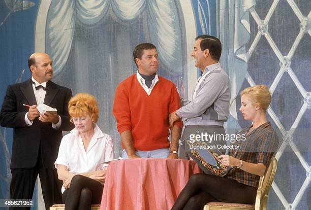Entertainers Lucille Ball Jerry Lewis Danny Thomas and Shirley Jones performs on the TV show Perry Como's Kraft Music Hall in New York