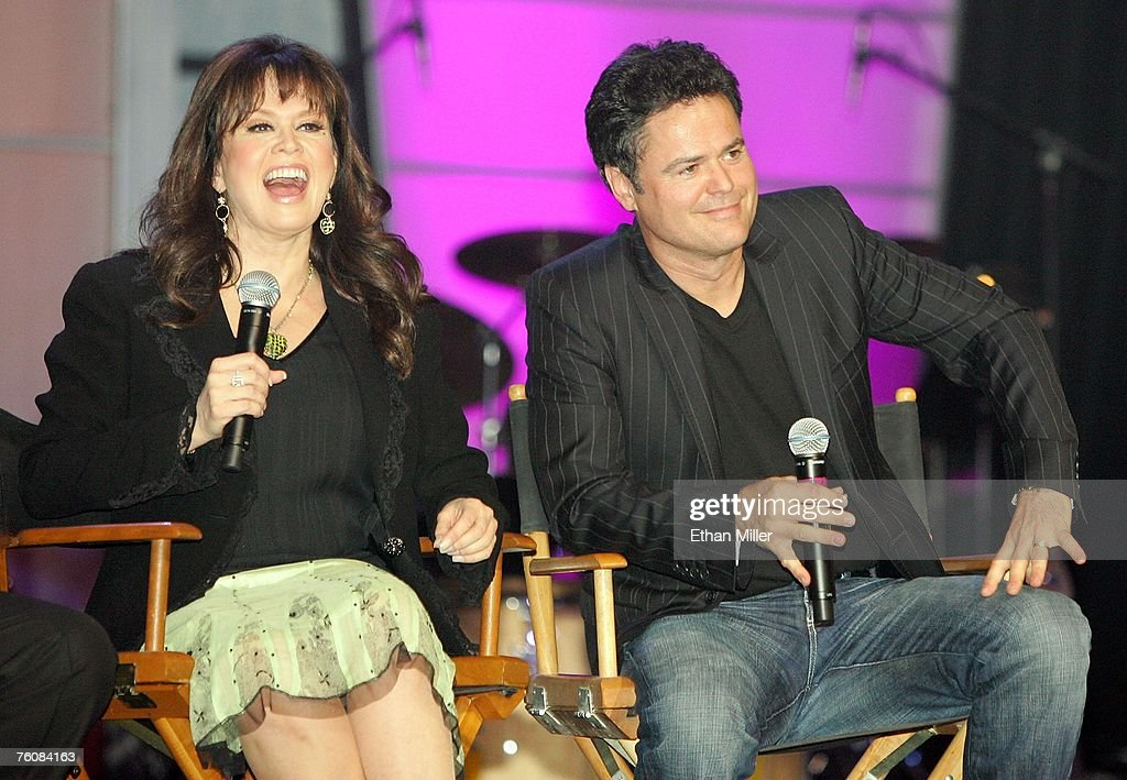 Entertainers marie osmond and her brother donny osmond speak during the osmonds meet and greet fans in las vegas news photo m4hsunfo