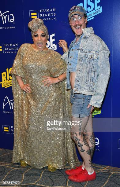 Entertainers Miss Behave and Tiffany attend the Human Rights Campaign's 13th annual Las Vegas Gala at the Aria Resort Casino on May 12 2018 in Las...
