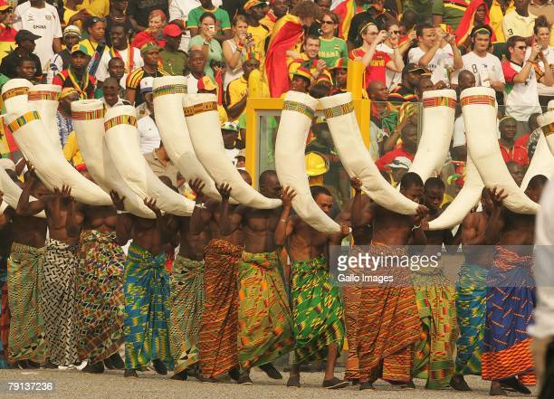Entertainers perform during the African Cup of Nations Group A match between Ghana and Guinea held at the Ohene Djan Stadium on January 20, 2008 in...