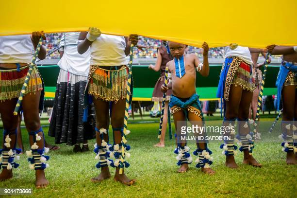 Entertainers perform during the African National Congress' 106th anniversary celebrations at Absa Stadium in East London on January 13 2018 The new...