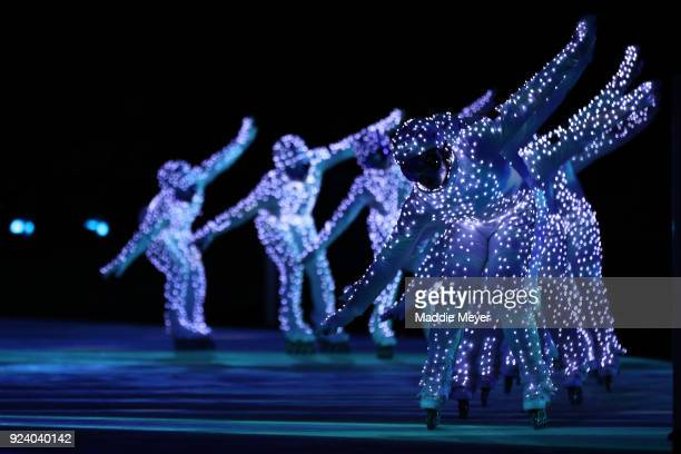 Entertainers perform during the Beijing segment during the Closing Ceremony of the PyeongChang 2018 Winter Olympic Games at PyeongChang Olympic...