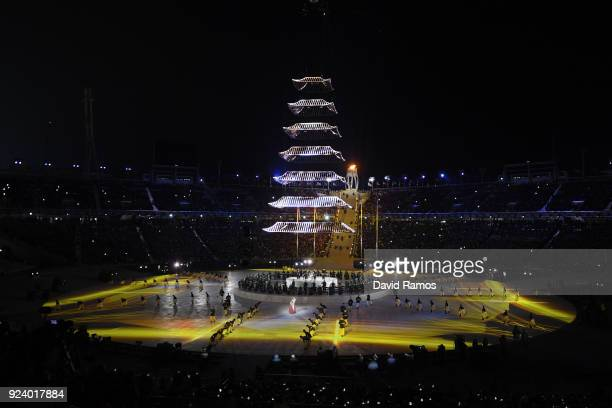 Entertainers perform during the Closing Ceremony of the PyeongChang 2018 Winter Olympic Games at PyeongChang Olympic Stadium on February 25, 2018 in...